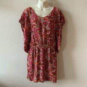 Chelsea & Violet pink brown boho mini caftan dress